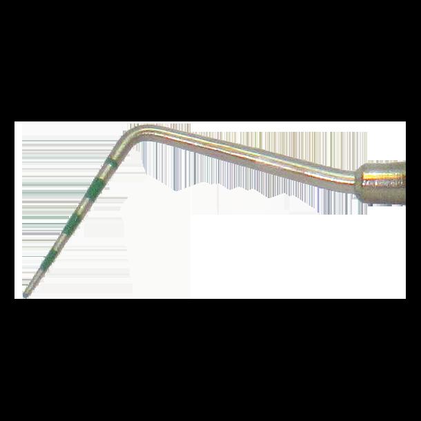 Pochemåler Løe, Enkeltendet. Rustfrit stål. BG Mini greb. Grøn markering 3-5-7-9-11-13-15 mm